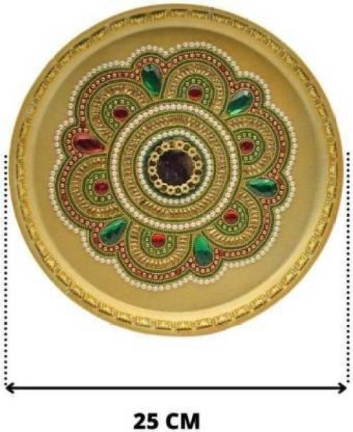 Artistry craft Kundan Work Multi Color Aarti Pooja Thali Set for Pooja Room, Diwali & Return Gifts Steel (Multicolor) Steel