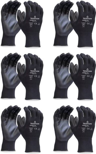 Techtion Black Half-Dip Nitrile PU Coating Safety Gloves For Industrial & Construction Use Pack of 6 Pairs XL Nitrile  Safety Gloves