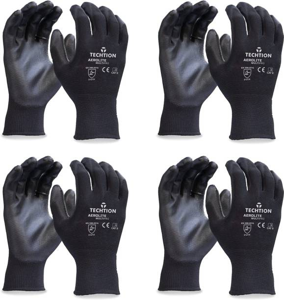 Techtion Black Half-Dip Nitrile PU Coating Safety Gloves For Industrial & Construction Use Pack of 4 Pairs L Nitrile  Safety Gloves