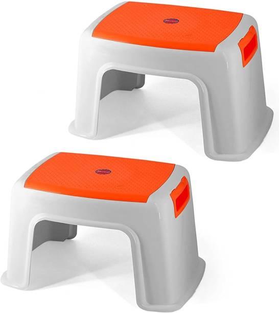 Branco Bathroom Plastic Stool - Toto (White & Orange) Bathroom Stool
