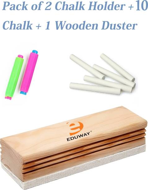 Eduway Regular Wooden Duster Wooden White Board Duster | Whiteboard Eraser for Easy Cleaning of White Board Marker or Chalk Board Writing With 2 Chalk Holder & 10 Chalk (1 Wooden Duster,2 Chalk Holder,10 Chalk) Dusters