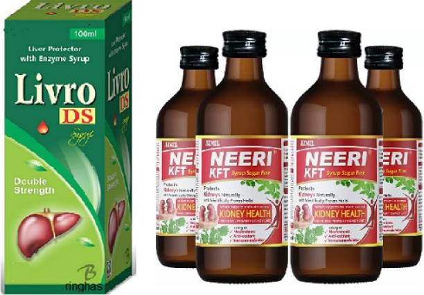 RINGHAS PCI Livro DS Syrup 100ml +NEERI KFT Sugar Free Syrup for Kidney Health (Pack of 4)200ML