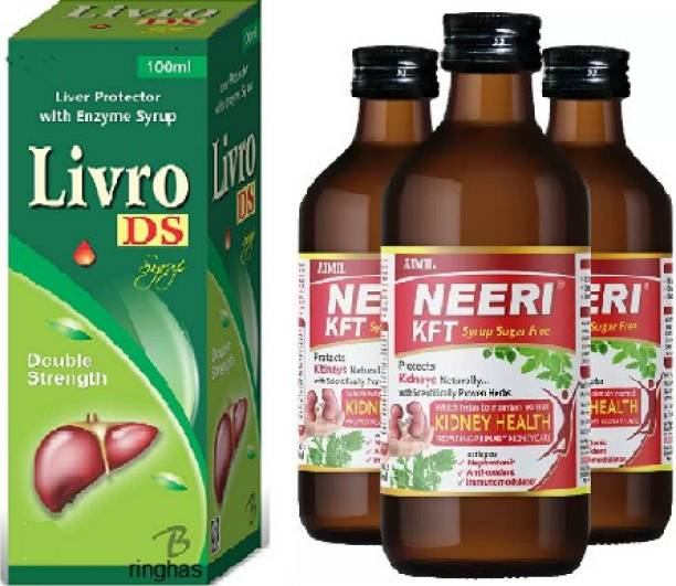 RINGHAS PCI Livro DS Syrup 100ml +NEERI KFT Sugar Free Syrup for Kidney Health (Pack of 3)200ml
