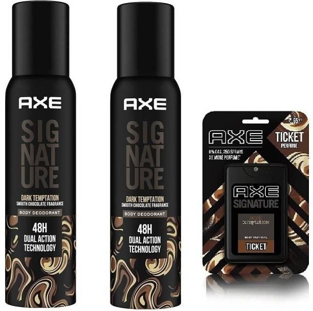 AXE Signature ( 2 Dark Temptation Smooth Chocolate Fragrances No Gas Body Deodorant Each 122ml With 1 Dark Temptation Pocket Perfume 17ml ) Set of --3 Body Spray  -  For Men