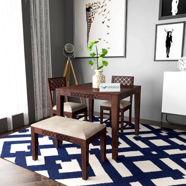 Lakewood Solid Wood 3 Seater Dining Set