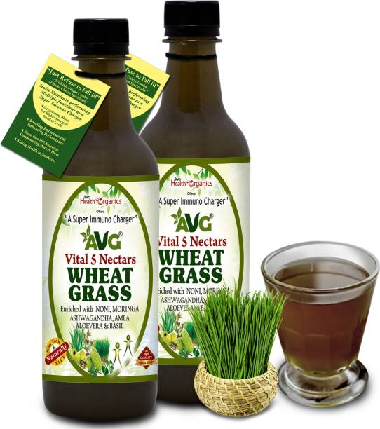 AVG Health Organics Wheat Grass Plus Juice with Noni & Moringa- Super Immuno Charger