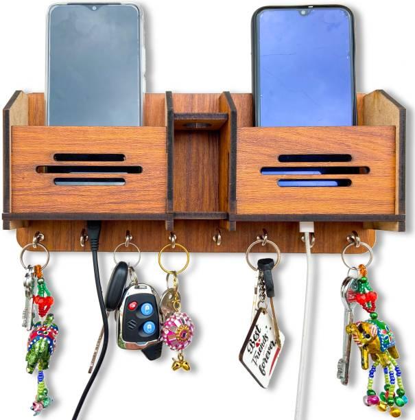 Khatu Crafts Brown wooden Designed Wood Key Holder