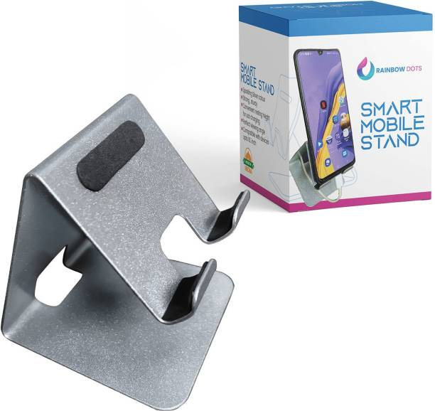 Rainbow Dots Sparkling Silver Cell Phone Stand, Phone Dock: Cradle, Holder, Stand for Office Desk Online class Mobile Holder