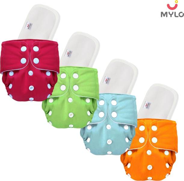 MYLO ESSENTIALS Pack Of 4 Reusable Cloth Diapers Washable, Adjustable Size (Multi Colour) with Insert Pads (Pack of 4)