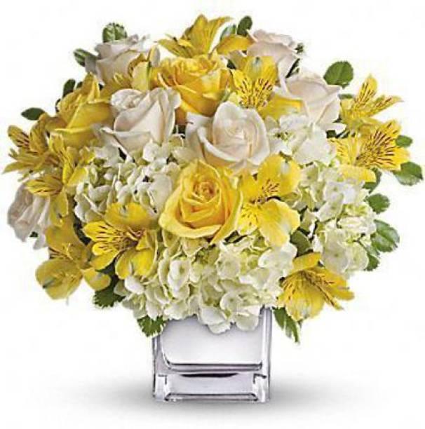 "SHRI JI shiny crystal clear flower basket for multipurpose, it can be used as flower vase, flower basket, decoration, flower pot, plant container 10"" flower basket_ 0014 Glass Flower Basket"