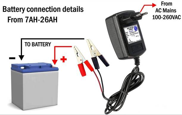 GoodsBazaar Adaptor Type 14 Volt 2 Amp for Upto 7 Amp Battery Charger With Auto Cut Off & Overcharge Protection Electronic SMPS Power Supply AC DC Adaptor 14v 2A Adapter Electric Supply with Black and Red Crocodile Alligator Clips Electrical Test Clamps Jumper Cable with Protective Insulation Cover for AMF Panel, Tubular, Inverter, Bike, Truck, Ups, Car, Acid Sealed Battery, Car Battery Charger, Bike Battery Charger and UPS Battery Charger Worldwide Adaptor