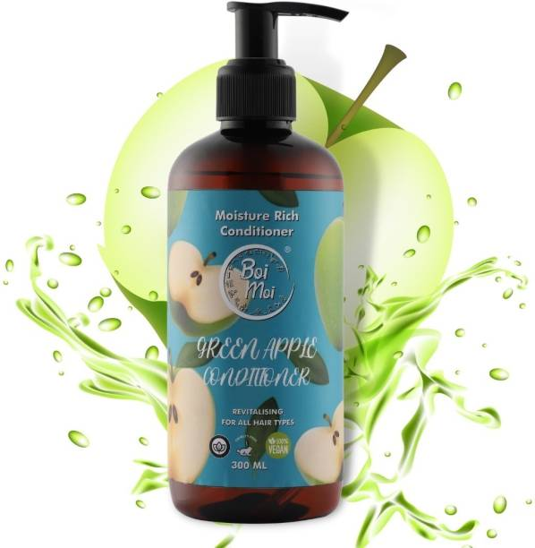 Boi Moi Green Apple Deep Conditioner for Curly Hair Dry and Frizzy hair Moisturizes & Provides Intense Softness Strengthen & Protect Damaged Hair | Infused With Proteins paraben free 300 ML