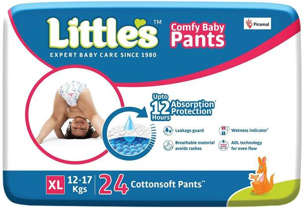 Little's Comfy Baby Pants Diapers with Wetness Indicator and 12 hours Absorption | Extra Large - XL