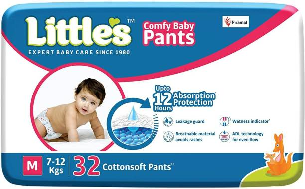 Little's Comfy Baby Pants Diapers with Wetness Indicator and 12 hours Absorption | Medium - M