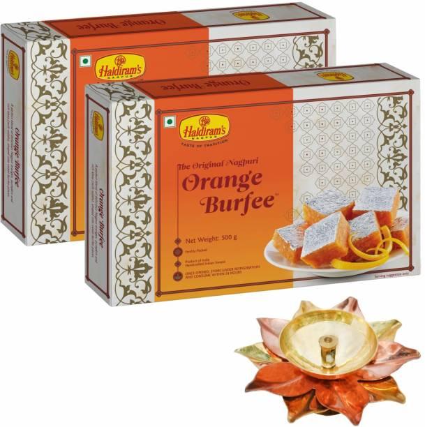 Haldiram's Orange Burfee Pack of 2 (500 g x 2) with Small Diya Assorted Gift Box