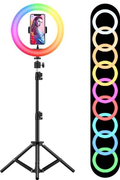 Wrapo 10Inch RGB Colors Ring Light Tripod 3 Mode Light 10 Level Brightness Adjust 360 Rotation Mobile Holder Clip 26 Color Change Light for Insta Reels Mx Takatak YouTube Vlog Makeup Photography Ring Flash