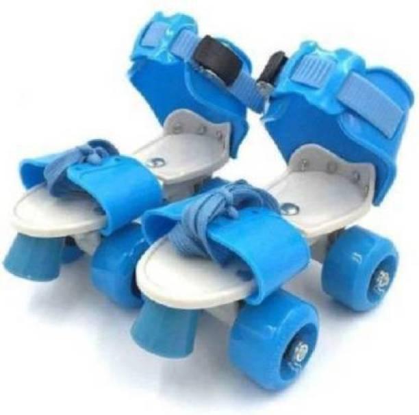 ACMOCOLLECTION Roller Skates with Front Break for Boys And Girls Adjustable Inline Skating Shoe Quad Roller Skates - Size 7 UK (Blue) Quad Roller Skates - Size NA UK (Blue) Quad Roller Skates - Size NA UK