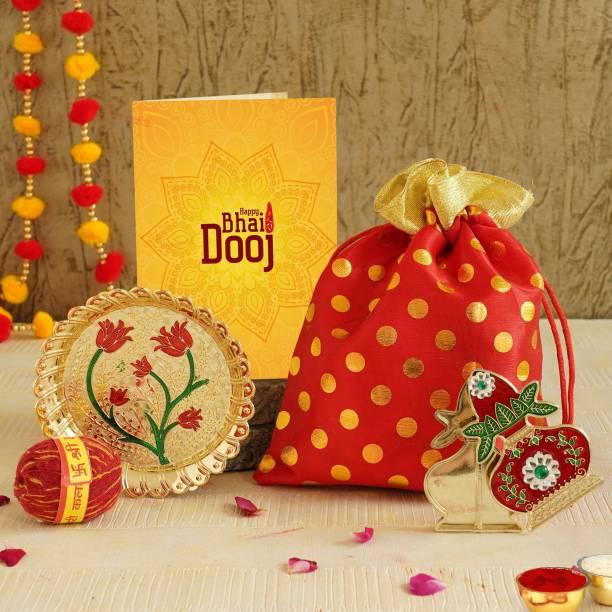 TIED RIBBONS Bhai Dooj Gift Hamper for Brother - Greeting Card Organza Bag Kalawa kalash wall sticker and Roli Chawal Tikka with Thali Gift Items Paper Gift Box