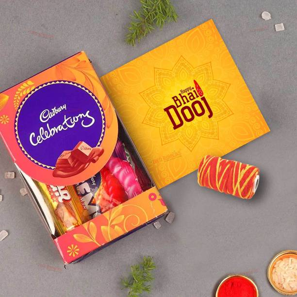 TIED RIBBONS Bhai Dooj Gift Hamper for Brother - Cadbury Celebration Chocolate Box with Greeting Card Kalawa and Roli Chawal Tikka Paper Gift Box