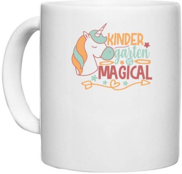 UDNAG White Ceramic Coffee / Tea 'Teacher Student   kinder garten is magical' Perfect for Gifting [330ml] Ceramic Coffee Mug