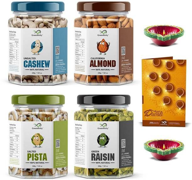 GreenFinity Dry Fruits Combo Pack - (200g * 4) 800g (Almonds, Cashews, Pistachios, Raisins) - All Premium Cashews, Raisins, Almonds, Pistachios