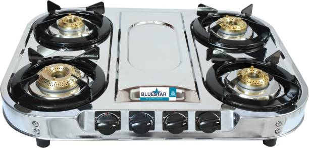 """Blue Star 4 Burner Stella """"FT"""" Stainless Steel Manual Gas Stove"""