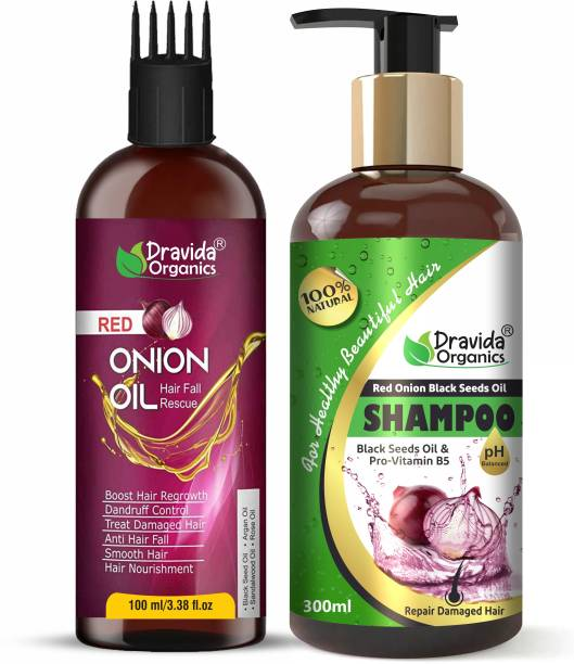 Dravida Organics Onion Oil and Onion Shampoo for Hair Growth & Hair Fall Control, with Red Onion & Black Seed for Men, Women Hair Oil