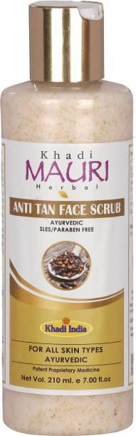 Mauri Khadi Herbal Anti Tan Scrub - Removes Tan, Prevents Sun Damage & Boosts Skin Complexion - 210 ml Scrub
