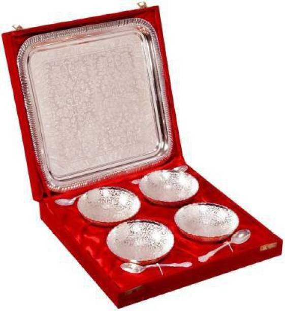 VISION INDIA CO Silver Plated Brass Decorative Bowl, Spoon, Tray Serving Set