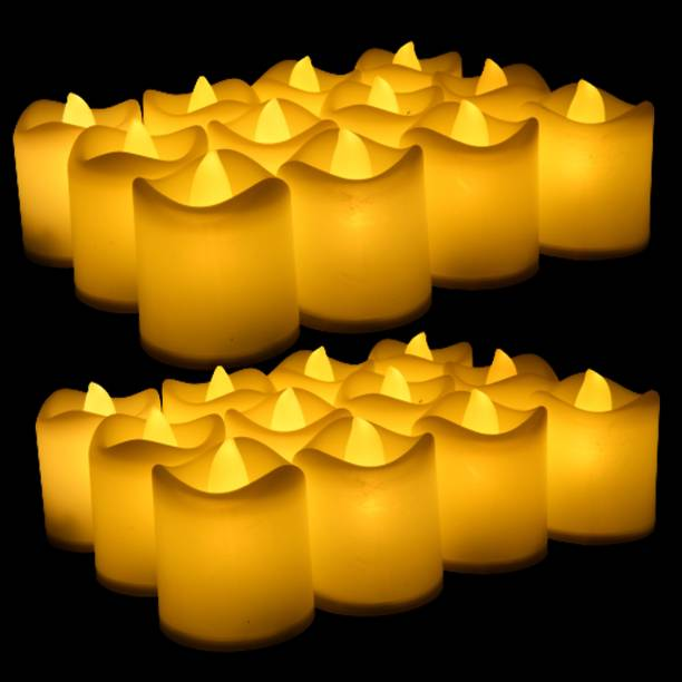 CLOUD VILLA Tea Light Magic Candles - Smokeless, Flameless Tealight, Decoration for Diwali | Christmas | New Year | Birthday | Wedding Decoration, Precious's Function Party Long lasting Battery Set of 24 Candle