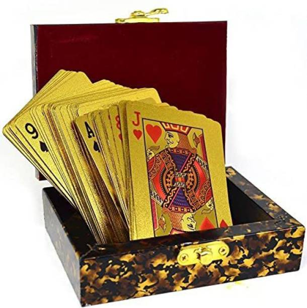 FABULASTIC 24K Gold Plated Playing Cards Case and Certificate with Wooden Gift Box | Make Your Magic Tricks More Luxurious & Creative with Family & Friends