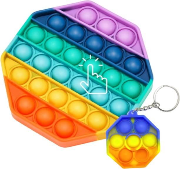coolcold Pop It Fidget Toys, Push Pop Bubble Fidget Sensory Toy,Autism Silicone Stress Relief Toy,Great Fidget Toy Sensory Toys Novelty Gifts for Girls Boys Kids Adults (Rainbow Hexagon & Rainbow Hexagon Key-Chain ) Fidget Toy Gag Toy