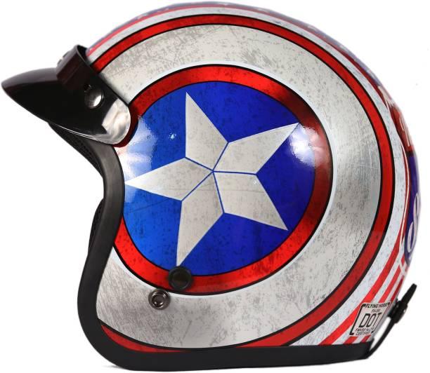 THH HELMETS FH-356 White Captain America Open Face Motorbike Helmet
