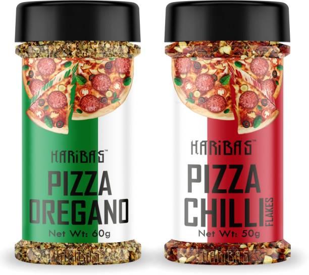 HARIBAS Combo Chilli Flakes and Oregano, Chilli Flakes 50GM and Oregano Powder 60GM, Oregano and Chilli Flakes for Pizza Dominos Oregano Seasonings for Pizza, Chilli Flakes in Pantry