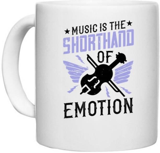 UDNAG White Ceramic Coffee / Tea 'Music Violin   Music is the shorthand of emotion' Perfect for Gifting [330ml] Ceramic Coffee Mug