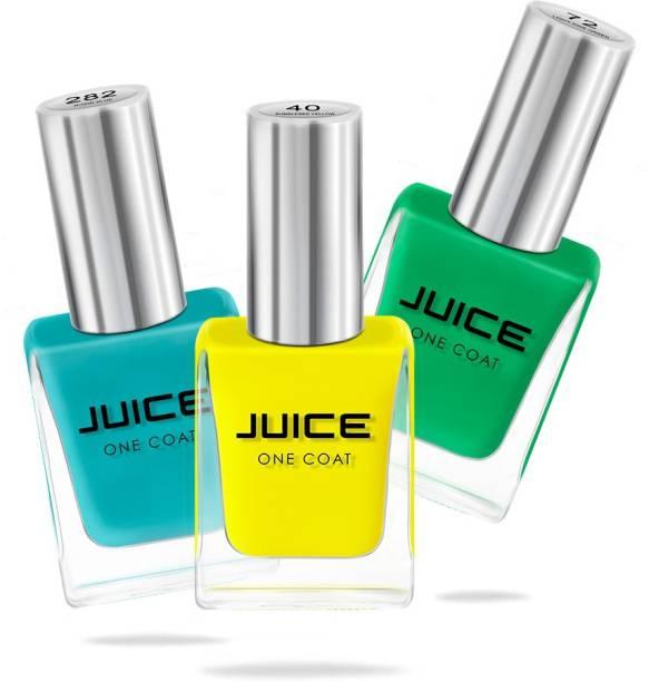 Juice Nail Paint Bumblebee Yellow - 40, Light Pine Green - 72, Robin Blue - 282