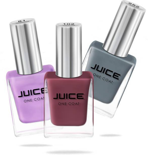 Juice Nail Paint Combo Periwinkle Blue, Dusty Coral, Thunder Sky