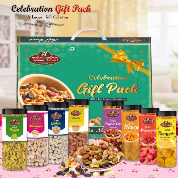 YUM YUM Celebration Dry Fruits Gift Box - 1.6kg (Almonds 250g, Cashew 250g, Pistachios 250g,Raisins 250g ,Mixed Fruits Cube 150g,Dried Mango 150g ,Strawberry 150g ,Pine Apple- 150g Jar Each)