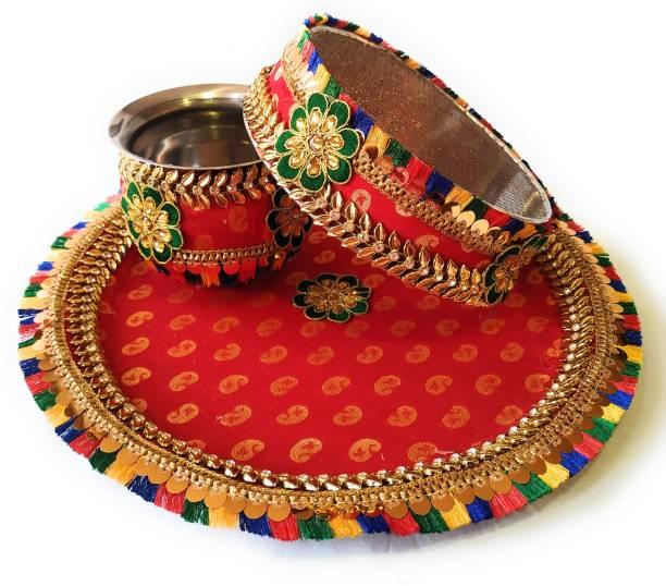 SAU RANG Channi Thali Lota Set / Karwa Chauth Pooja Thali Set Steel, Iron