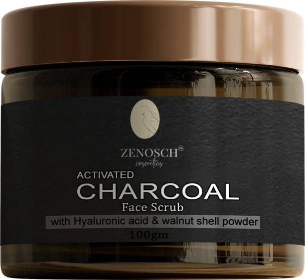 Zenosch Activated Charcoal face Scrub - for Exfoliation, Anti-acne & Blackhead Removal face cleanser Scrub