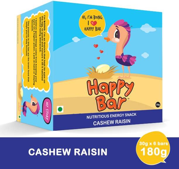Happy bar Cashew Raisin Nutritious Protein Energy Bar - Box of 6