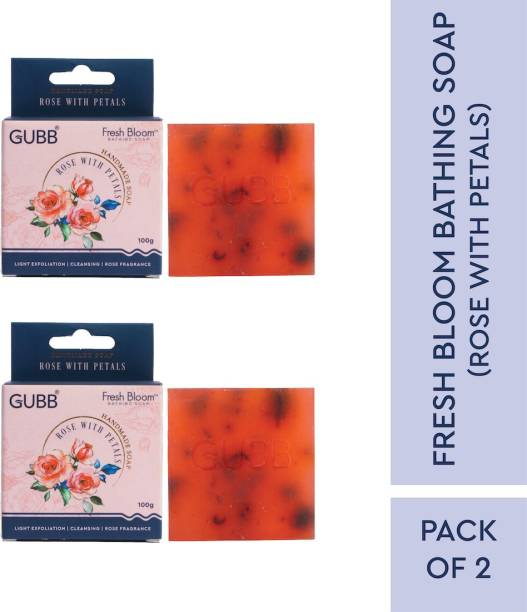 GUBB Handmade Bathing Soap With Rose & Petals Pack of 2, 100gm Each