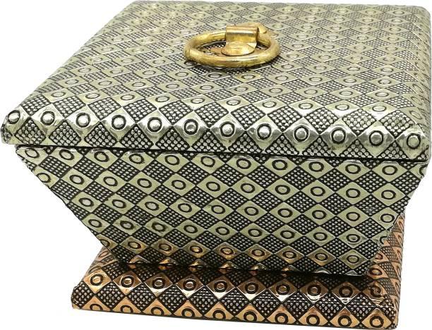 SARANGWARE Rajwadi Wooden Copper Oxidized Dry Fruit Box, Chocolate Box, Sweet Box, Gift Box Wood Decorative Platter