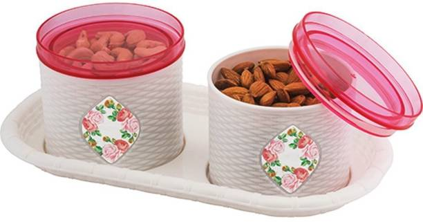 SARANGWARE Airtight Lid Zeal 2 Pcs Dry Fruit Box With Serving Tray (White) Plastic Decorative Platter