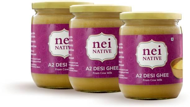 Nei Native A2 Cultured Desi Ghee   Homemade and Artisanal   Pack of 3 500 ML+ 500 ML+ 500 ML Ghee 1500 ml Glass Bottle