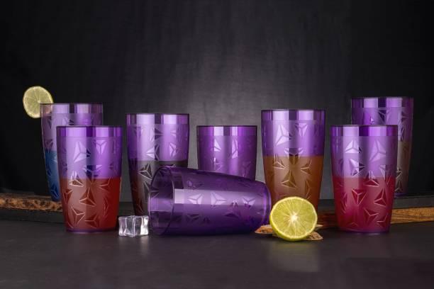 EMBICON (Pack of 8) Smart Buy 100% Unbreakable Prism Pattern Water,juicer,beer Drinking Glass(300ml,Purple,Plastic) Glass Set