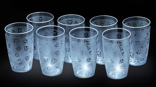 Sedulous (Pack of 8) 100% Unbreakable Curved Shape Prism Pattern Water Juice Drinking Glasses Set Of 8 ( Clear,Plastic) Glass Set