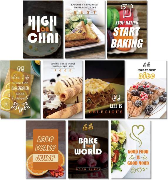 Set of 10 - Kitchen Quotes Wall Posters for Restaurant Bar Lounge Cafe Wall Decor - Wall Posters for Room - Posters for Kitchen Wall - Food Quotes Posters for Food Lovers Paper Print