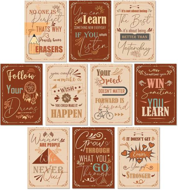 Motivational Quotes Wall Posters for Room - Posters for Walls Motivational - Posters for Office - Inspirational Quotes Posters for Room Motivational - Set of 10 Posters Paper Print
