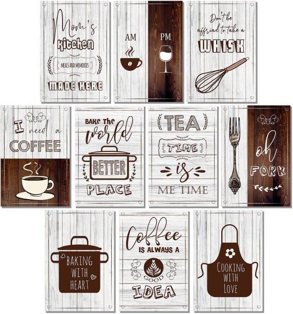 Set of 10 - Kitchen Quotes Wall Posters for Restaurant Bar Lounge Cafe Wall Decor - Wall Posters for Room - Posters for Kitchen Wall - Food Posters for Kitchen Paper Print